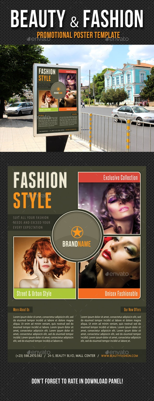Beauty and Fashion Poster Template V10 - Signage Print Templates