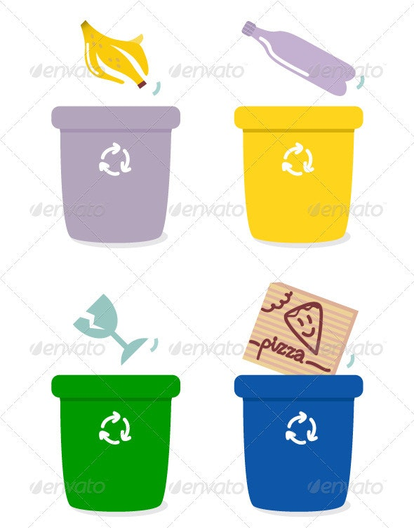 Garbage separation boxes by colors - Man-made Objects Objects