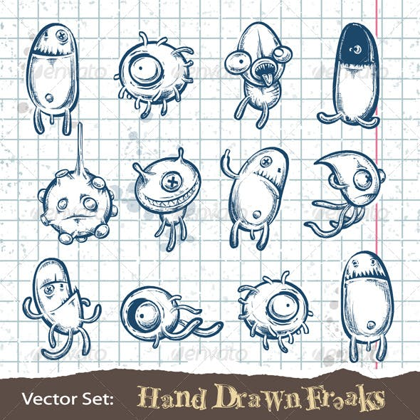 Set of Hand Drawn Freaks