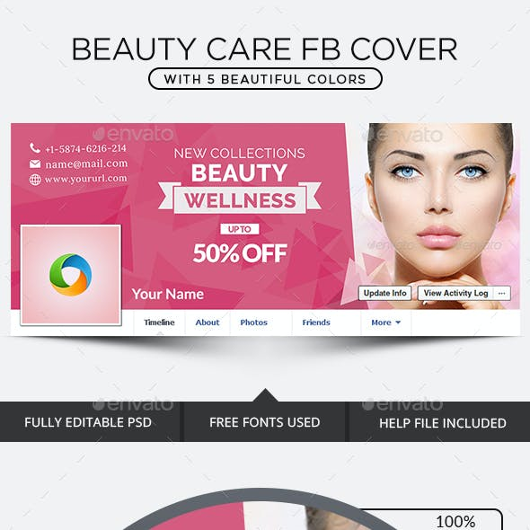 Beauty Care  Facebook Covers - 5 Color Variations