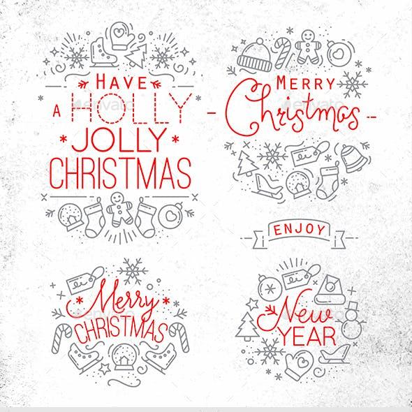 Flat Christmas Signs