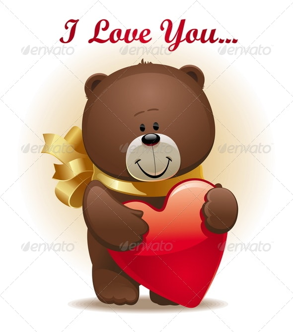 Valentines Design - Cute Bear With Bow & Heart - Valentines Seasons/Holidays