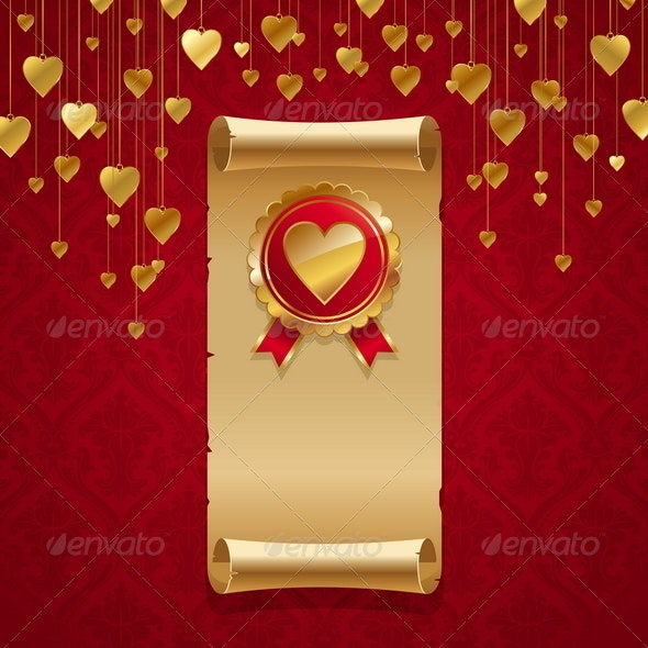 Valentines Design - Scroll & Badge With Hearts - Valentines Seasons/Holidays