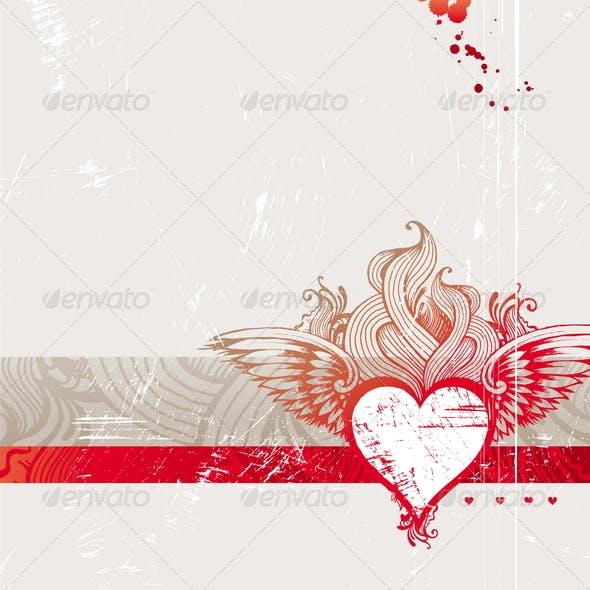Vintage Hand Drawn Flaming Heart