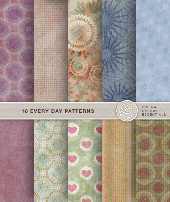 10 Seamless Every Day Patterns - Art Textures