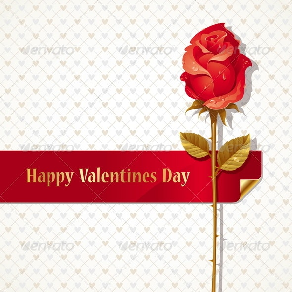 Valentines Design With Red Rose and Ribbon - Valentines Seasons/Holidays