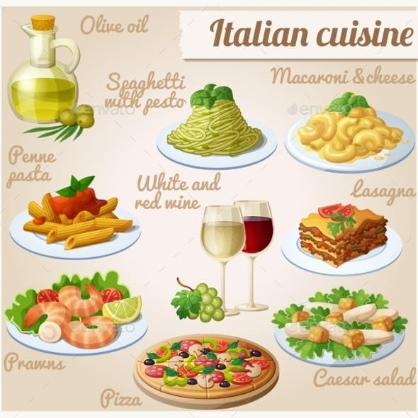 Set Of Food Icons. Italian Cuisine. Spaghetti
