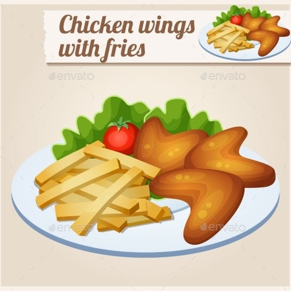 Chicken Wings With French Fries. Detailed Vector