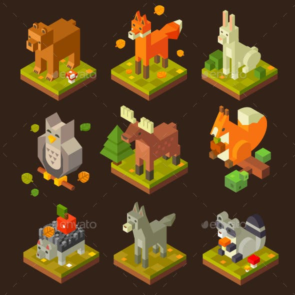 Isometric Forrest Bird And Animal Set.