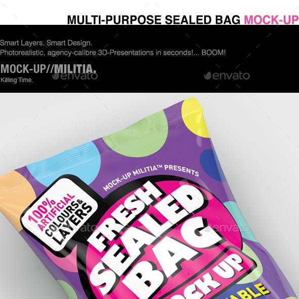 Snack Bag Mock-Up | Sealed Bag | Foil Bag Mock-Up