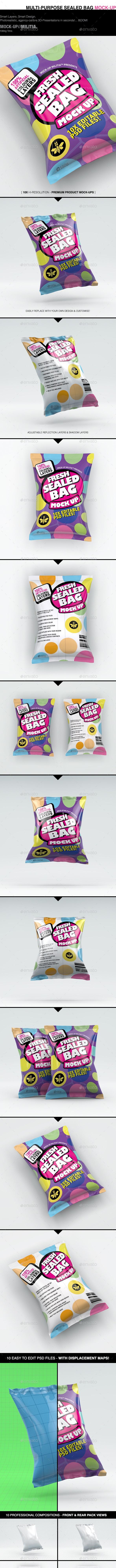 Snack Bag Mock-Up   Sealed Bag   Foil Bag Mock-Up - Food and Drink Packaging