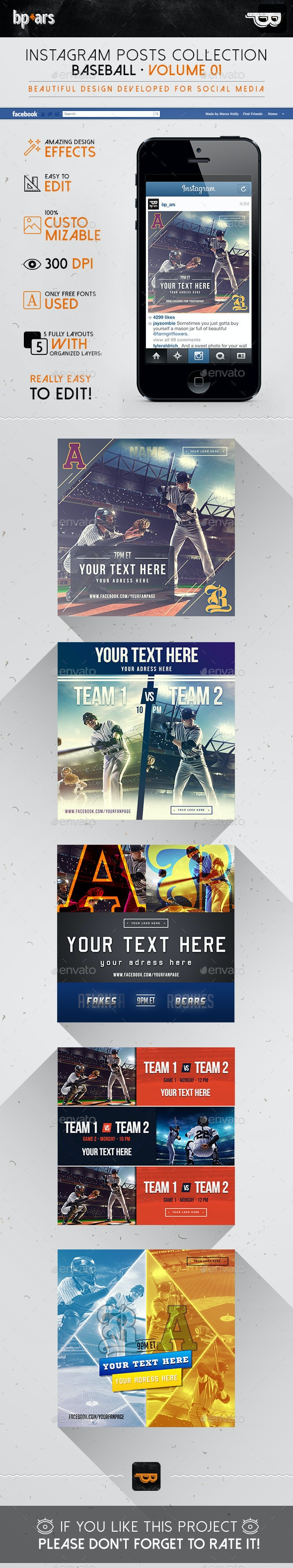 5 Instagram Banners | Baseball vol I - Banners & Ads Web Elements