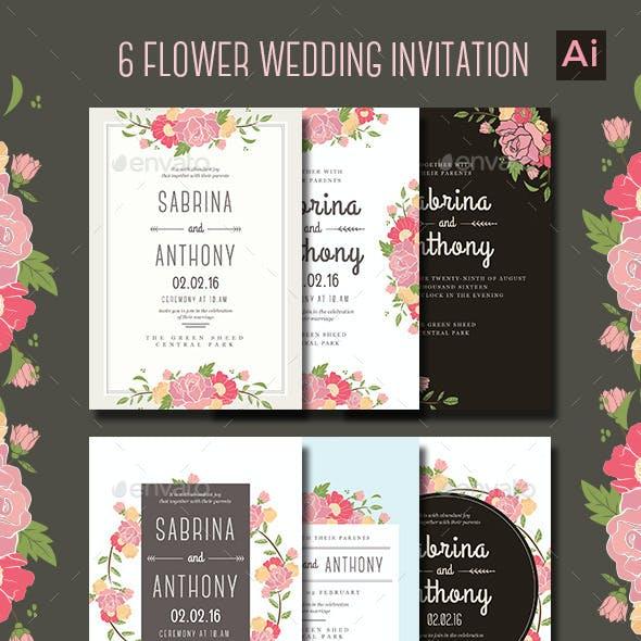 6 Floral Wedding Invitation
