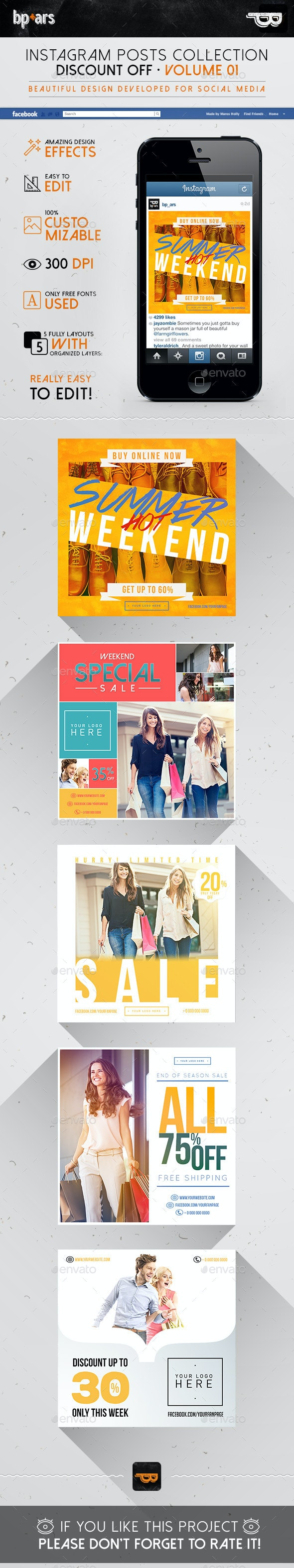 5 Instagram Banners | Discount Sales vol I  - Banners & Ads Web Elements