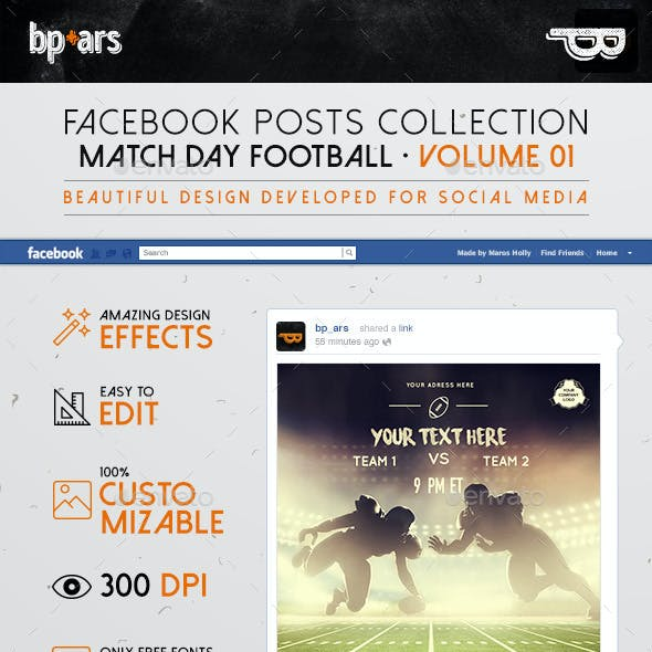 5 Facebook Banners Posts | American Football vol I