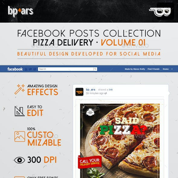 5 Facebook Banners Posts | Pizza Delivery vol I