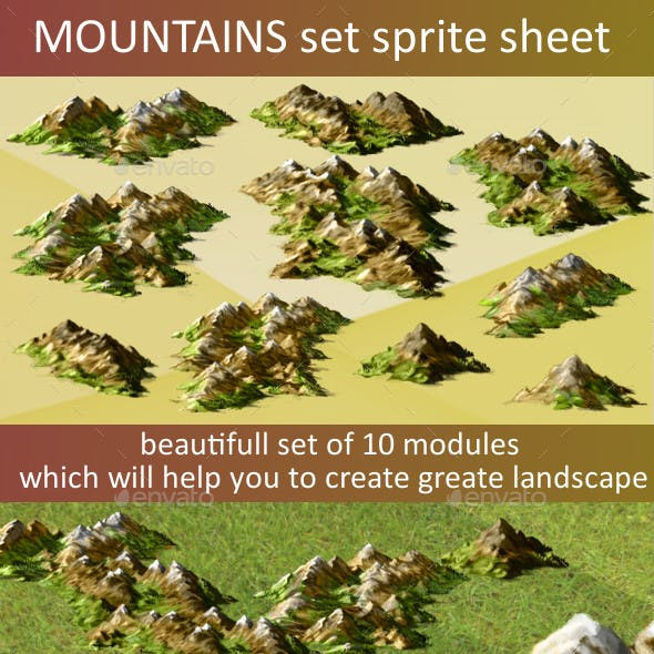 Mountains sprite sheet for 2d or isometric