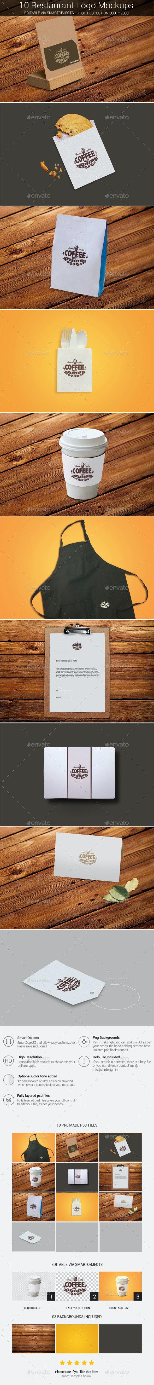 Restaurant Logo Mockup Bundle - Product Mock-Ups Graphics