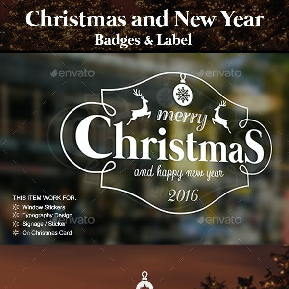 Christmas and New Year Badges & Labels