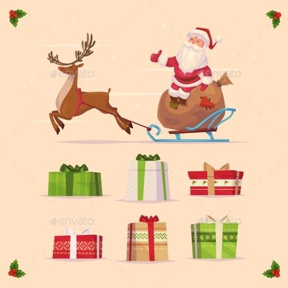 Gift Set. Christmas Card Poster Banner. Vector