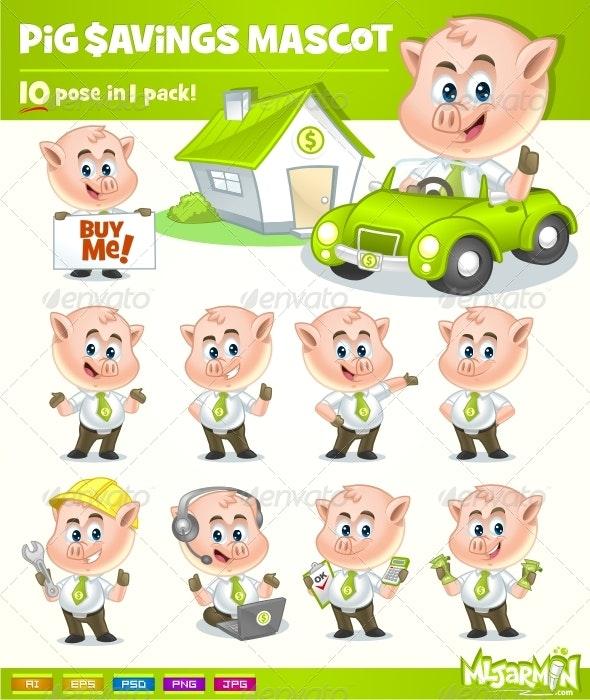 Pig Savings Mascot - Characters Vectors