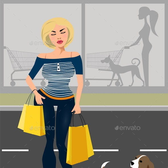 Fashionable Woman With a Dog Near The Shop