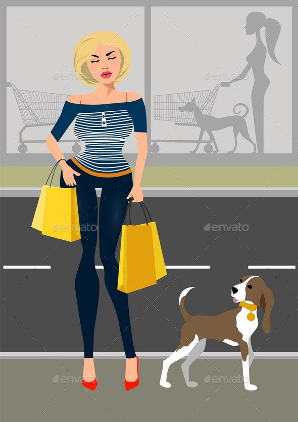 Fashionable Woman With a Dog Near The Shop - Retail Commercial / Shopping