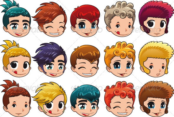Group of Faces with Different Expressions and Hair - People Characters