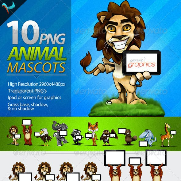10 Cartoon Animal Mascots with Tablet or Screen