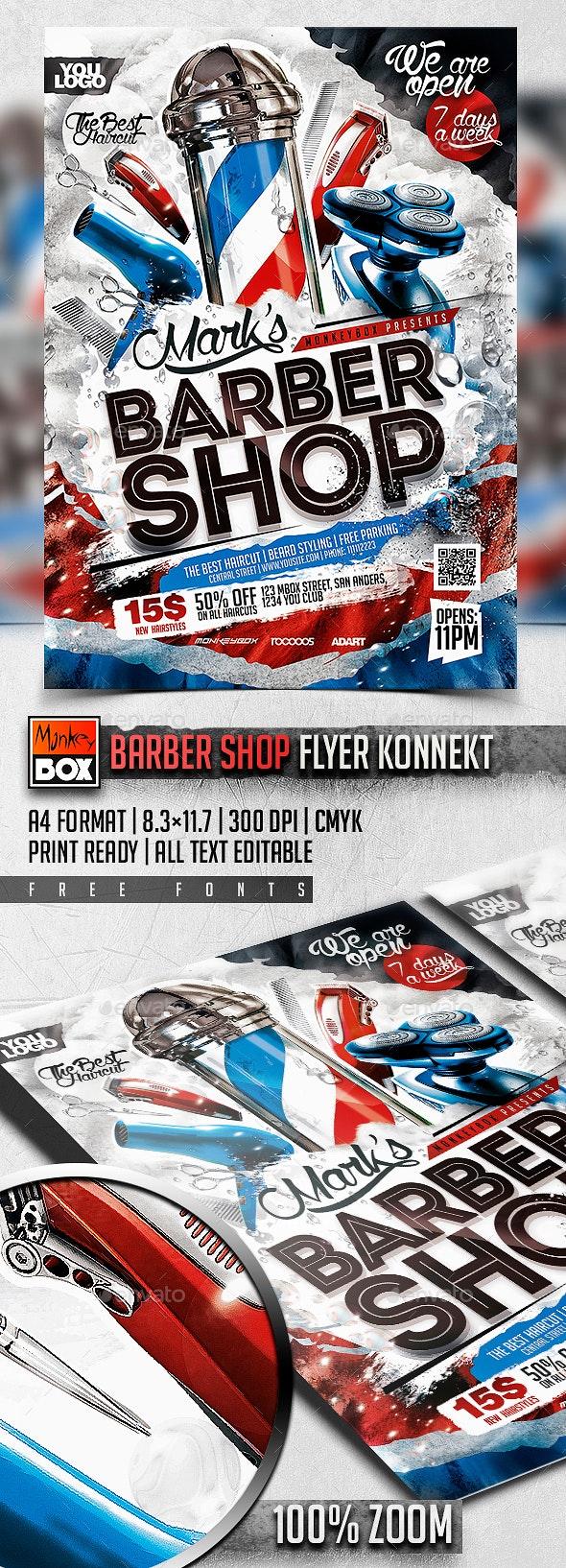 Barber Shop Flyer Konnekt - Commerce Flyers