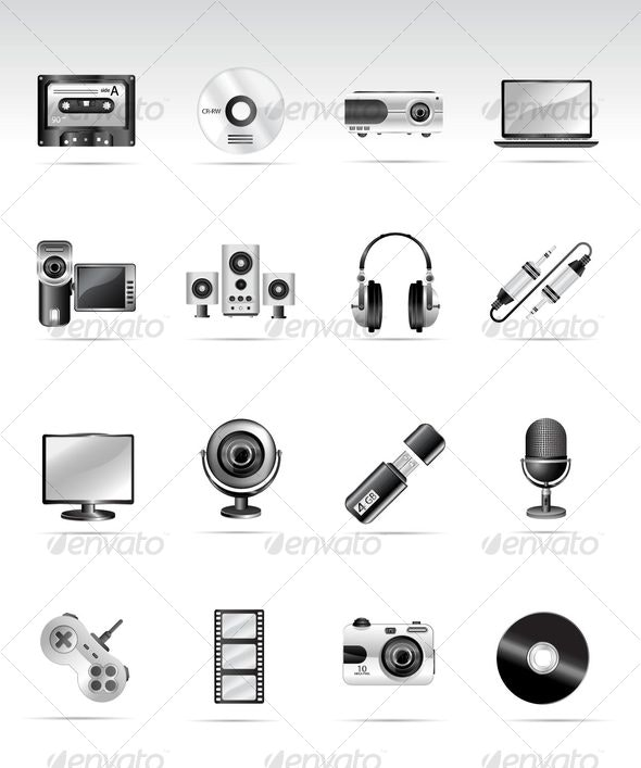 Silvero icon series - multimedia and electronic - Web Icons