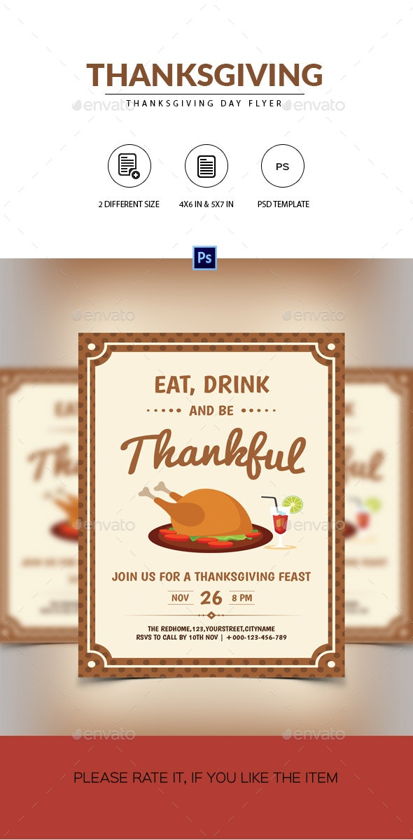 Minimal Retro Flyer for Thanksgiving Day - Events Flyers
