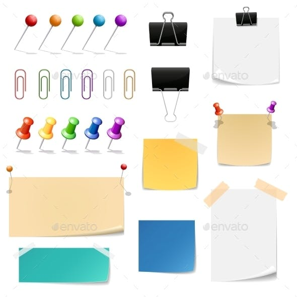 Vector Paper Clips Binders, Pins And Note Papers