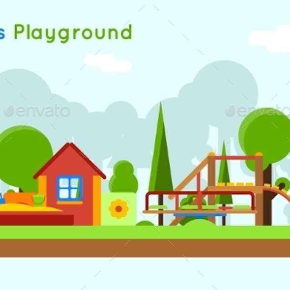 Slide And Sandpit In The Playground