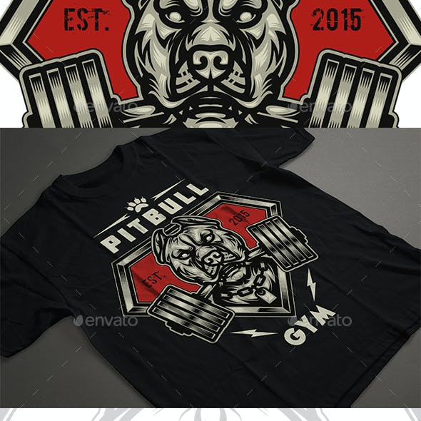 Pitbull Gym T-shirt Design