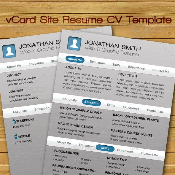 vCard Site Resume CV Template