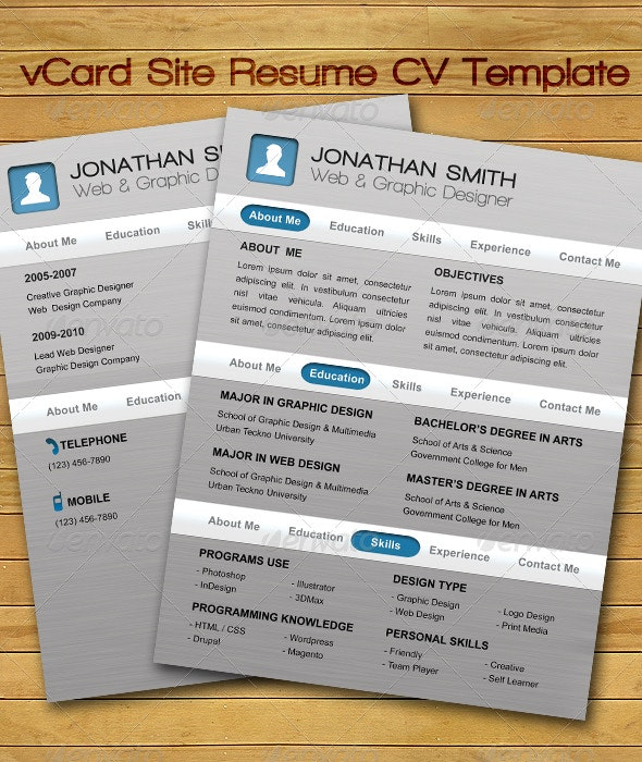 vCard Site Resume CV Template - Resumes Stationery