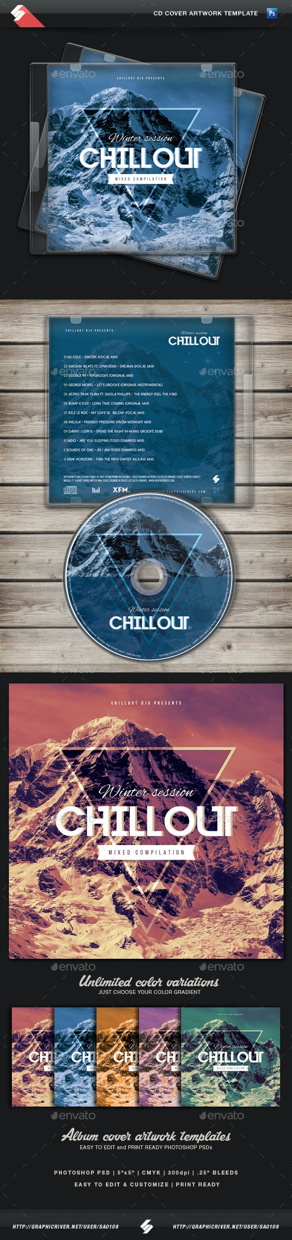 Winter Chillout - CD Cover Artwork Template - CD & DVD Artwork Print Templates