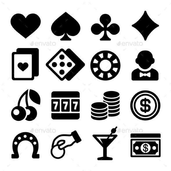 Gambling Casino Icons Set On White Background
