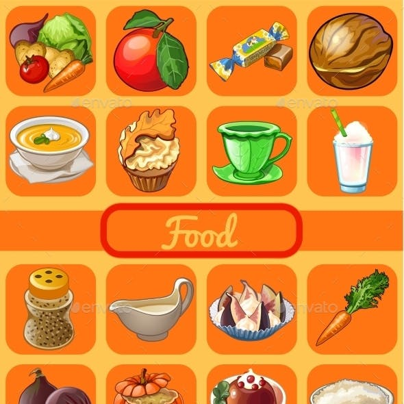 Set Of 16 Food And Drink Set