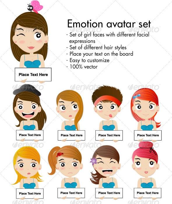 Emotion Avatar Set - Characters Vectors