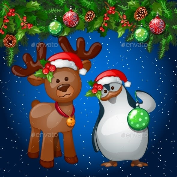 Christmas Card With Penguin And a Reindeer