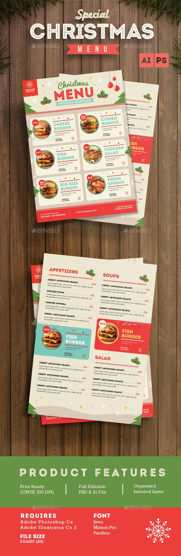 Special Christmas Menu - Food Menus Print Templates
