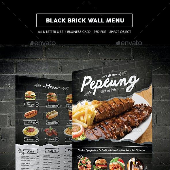 Black Brick Wall Menu
