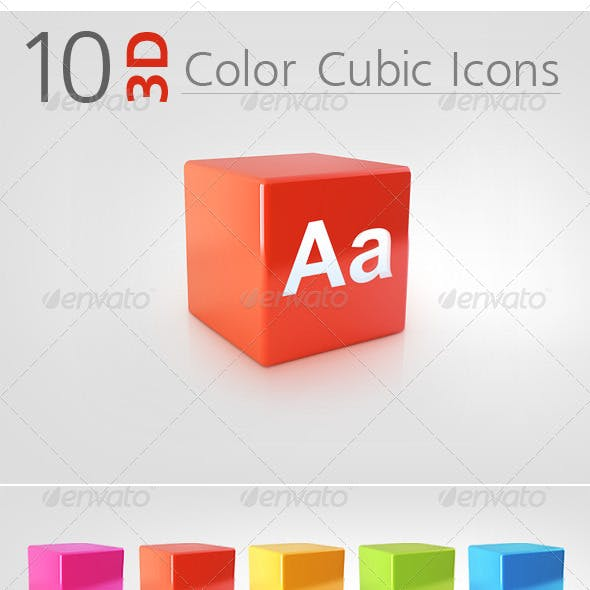 10 3D Color Cubic Icons