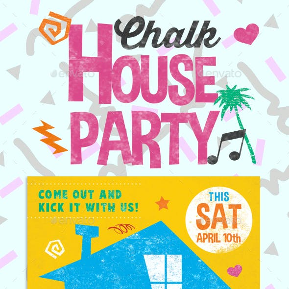 Chalk House Party Retro Flyer