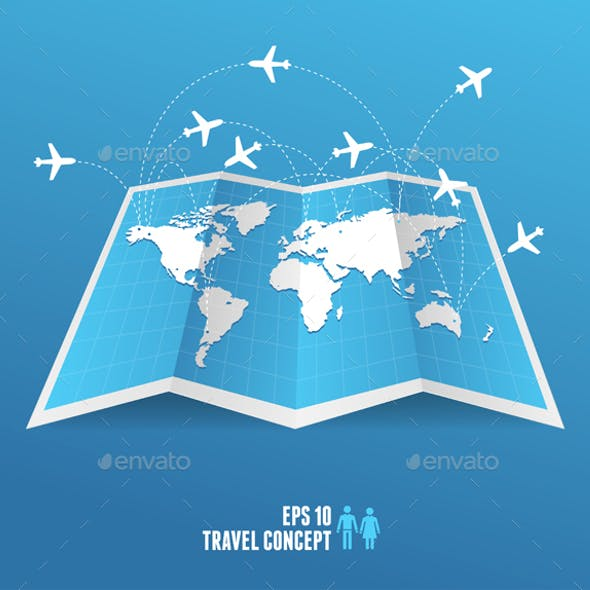 Blue Map Icon and Airplane. Vector