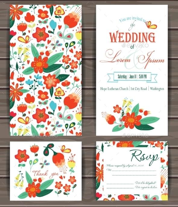 Floral Vector Card Templates. - Flowers & Plants Nature