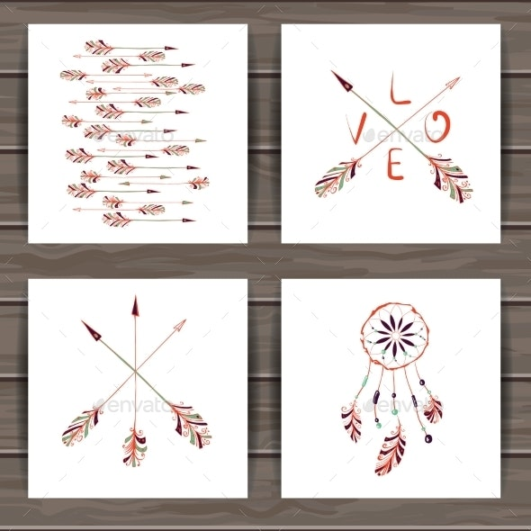 Valentines Day Cards With Dream Catcher And Arrows - Valentines Seasons/Holidays