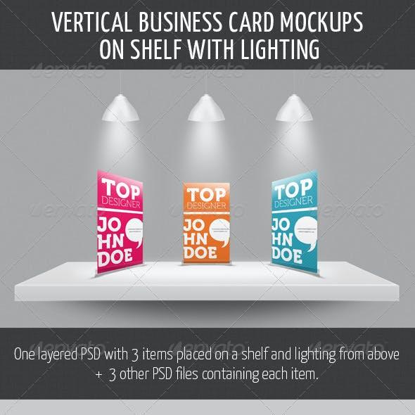 Vertical Business Card Mockup on Shelf